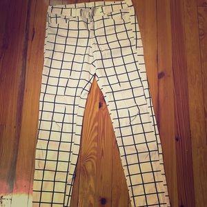 Pants - White with black criss cross pattern pants